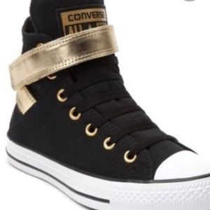 Converse black and gold with velcro ankle wraps